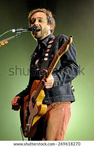 BARCELONA - FEB 25: Santi Balmes, singer and guitarist of Love of Lesbian (band), performs at Razzmatazz Clubs on February 25, 2011 in Barcelona, Spain. - stock photo