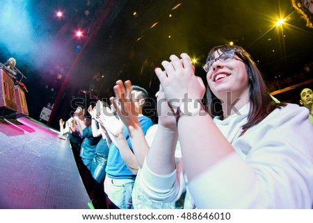 BARCELONA - FEB 28: The audience clapping in a concert at Barts Stage on February 28, 2015 in Barcelona, Spain.