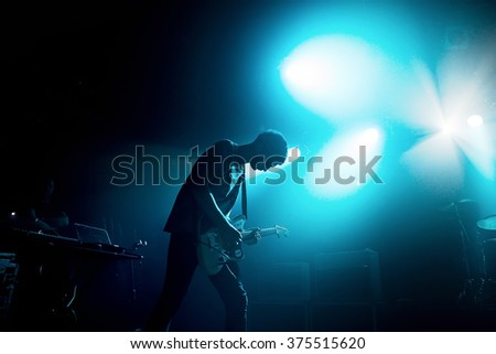 BARCELONA - FEB 6: The guitarist of Wolf Alice (band) performs at Razzmatazz stage on February 6, 2016 in Barcelona, Spain.