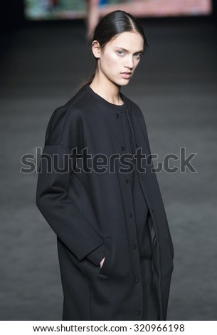 BARCELONA - FEBRUARY 03: a model walks on the Lebor Gabala catwalk during the 080 Barcelona Fashion runway Fall/Winter 2015 on February 03, 2015 in Barcelona, Spain.