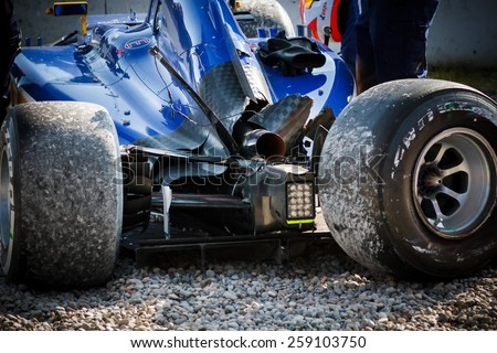 BARCELONA - FEBRUARY 19: Broken Sauber F1 car at Formula One Test Days at Catalunya circuit on February 19, 2015 in Barcelona, Spain. - stock photo