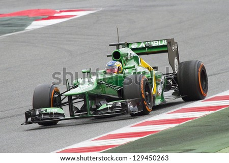 BARCELONA - FEBRUARY 19: Charles Pic racing with his new Caterham CT03 at Formula One Teams Test Days at Catalunya circuit on February 19, 2013 in Montmelo, Barcelona, Spain.