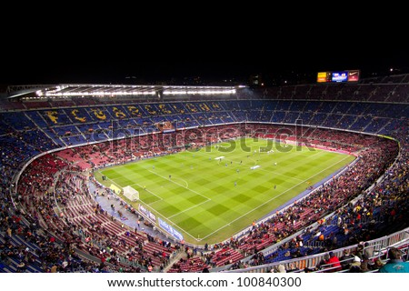 BARCELONA - FEBRUARY 2: Crowd of people during the Spanish Cup match between FC Barcelona and Valencia CF, final score 2-0, on February 2, 2012, in Camp Nou stadium, Barcelona, Spain. - stock photo