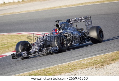 BARCELONA - FEBRUARY 22: Daniil Kvyat racing with his Red Bull at Formula One Test Days at Catalunya circuit, on February 22, 2015, in Barcelona, Spain. - stock photo