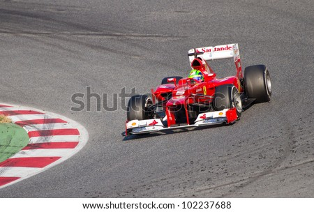 BARCELONA - FEBRUARY 24: Felipe Massa of Ferrari F1 team racing at Formula One Teams Test Days at Catalunya circuit on February 24, 2012 in Barcelona, Spain.