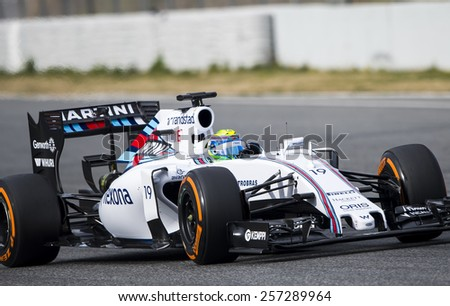 BARCELONA - FEBRUARY 26: Felipe Massa of Williams at first day of Formula One Test Days at Catalunya Circuit on February 26, 2015 in Barcelona, Spain. - stock photo
