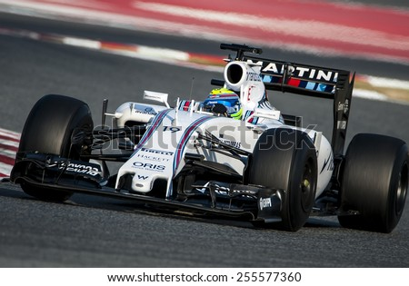 BARCELONA - FEBRUARY 20: Felipe Massa of Williams at second day of Formula One Test Days at Catalunya Circuit on February 20, 2015 in Barcelona, Spain. - stock photo