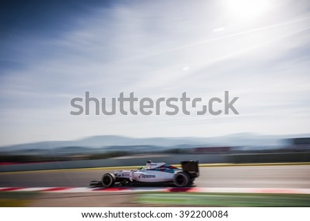BARCELONA - FEBRUARY 24: Felipe Massa of Williams F1 Team at Formula One Test Days at Catalunya circuit on February 24, 2016 in Barcelona, Spain. - stock photo