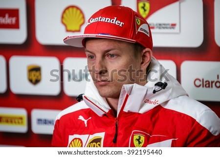 BARCELONA - FEBRUARY 24: Kimi Raikkonen of Ferrari F1 Team at Formula One Test Days at Catalunya circuit on February 24, 2016 in Barcelona, Spain. - stock photo