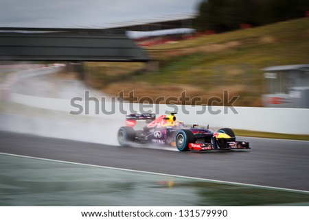 BARCELONA - FEBRUARY 28: Mark Webber of Infiniti Red Bull Racing F1 team during Formula One Test Days at Catalunya circuit on February 28, 2013 in Barcelona, Spain.