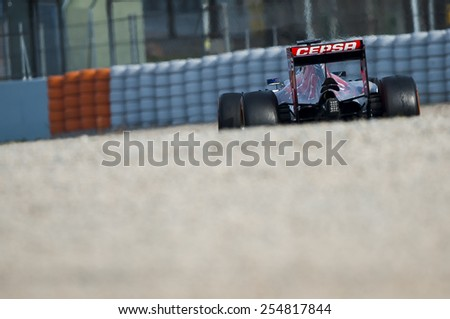 BARCELONA - FEBRUARY 21: Max Verstappen of Toro Rosso at third day of Formula One Test Days at Catalunya Circuit on February 21, 2015 in Barcelona, Spain. - stock photo