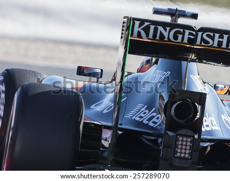 BARCELONA - FEBRUARY 28: Nico Hulkenberg of Force India at third day of Formula One Test Days at Catalunya Circuit on February 28, 2015 in Barcelona, Spain. - stock photo