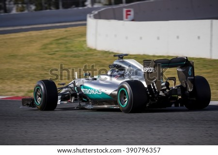 BARCELONA - FEBRUARY 23: Nico Rosberg of Mercedes AMG F1 Team at Formula One Test Days at Catalunya circuit on February 23, 2016 in Barcelona, Spain.
