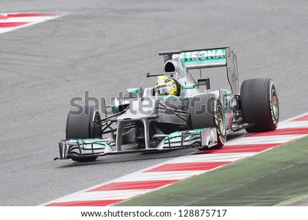 BARCELONA - FEBRUARY 19: Nico Rosberg racing with his new Mercedes W04 at Formula One Teams Test Days at Catalunya circuit on February 19, 2013 in Montmelo, Barcelona, Spain.