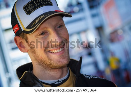 BARCELONA - FEBRUARY 28: Romain Grosjean of Lotus F1 Team at Formula One Test Days at Catalunya circuit on February 28, 2015 in Barcelona, Spain.