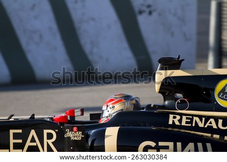 BARCELONA - FEBRUARY 21: Romain Grosjean of Lotus F1 team racing at Formula One Teams Test Days at Catalunya circuit on February 21, 2012 in Barcelona, Spain. - stock photo