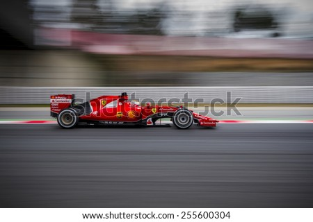 BARCELONA - FEBRUARY 21: Sebastian Vettel of Scuderia Ferrari F1 Team at Formula One Test Days at Catalunya circuit on February 21, 2015 in Barcelona, Spain. - stock photo