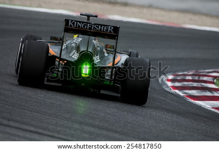 BARCELONA - FEBRUARY 21: Wehrler of Force India at third day of Formula One Test Days at Catalunya Circuit on February 21, 2015 in Barcelona, Spain. - stock photo