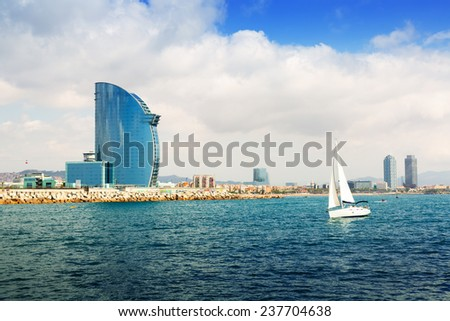 Barcelona from  sea. Barceloneta beach and Port Olimpic - stock photo