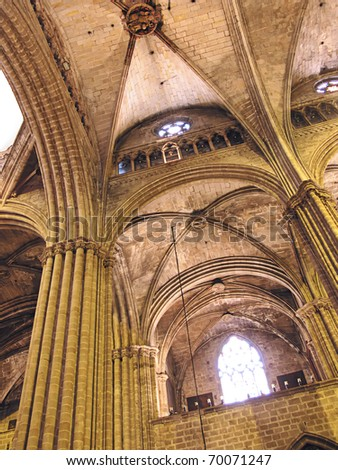 Barcelona gothic cathedral (cloister detail) - stock photo
