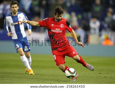 BARCELONA - JAN, 22: Coke Andujar of Sevilla FC during spanish League match against RCD Espanyol at the Estadi Cornella on January 22, 2015 in Barcelona, Spain - stock photo