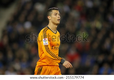 BARCELONA - JAN, 21: Cristiano Ronaldo of Real Madrid during the Spanish Kings Cup match between Espanyol and Real Madrid at the Estadi Cornella on January 21, 2014 in Barcelona, Spain - stock photo