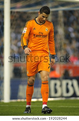 BARCELONA - JAN, 12: Cristiano Ronaldo of Real Madrid during the Spanish League match between Espanyol and Real Madrid at the Estadi Cornella on January 12, 2014 in Barcelona, Spain - stock photo