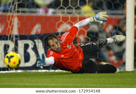 BARCELONA - JAN, 12: Diego Lopez of Real Madrid during the Spanish League match between Espanyol and Real Madrid at the Estadi Cornella on January 12, 2014 in Barcelona, Spain - stock photo