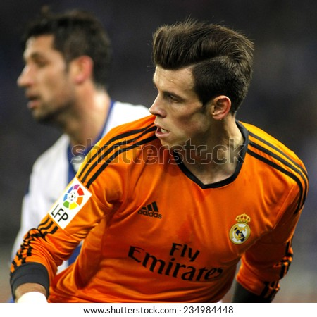 BARCELONA - JAN, 21: Gareth Bale of Real Madrid during the Spanish Kings Cup match between Espanyol and Real Madrid at the Estadi Cornella on January 21, 2014 in Barcelona, Spain - stock photo