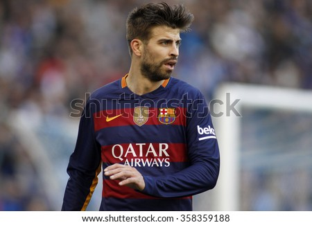 BARCELONA - JAN, 2: Gerard Pique of FC Barcelona during a Spanish League match against RCD Espanyol at the Power8 stadium on January 2, 2016 in Barcelona, Spain - stock photo