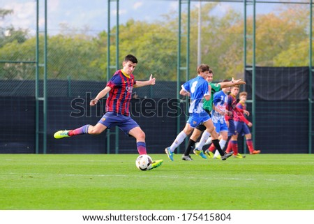 BARCELONA - JAN 19: Joan Ines plays with F.C Barcelona youth team against Figueres on January 19, 2014 in Barcelona, Spain.