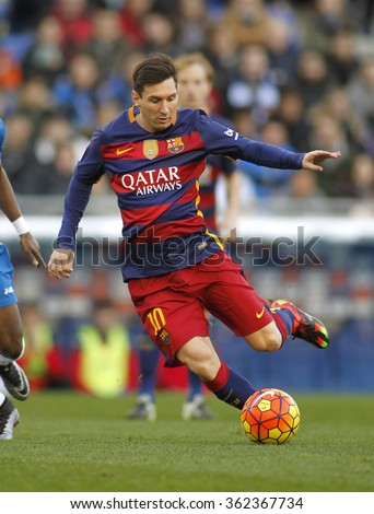 BARCELONA - JAN, 2: Leo Messi of FC Barcelona during a Spanish League match against RCD Espanyol at the Power8 stadium on January 2, 2016 in Barcelona, Spain - stock photo