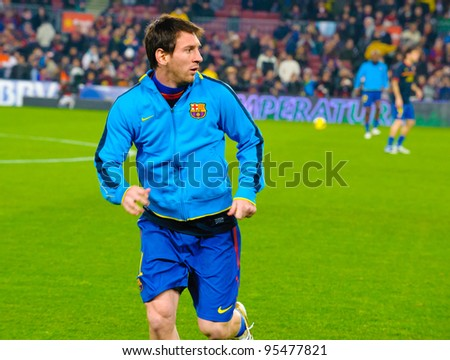 BARCELONA – JAN 15: Leo Messi playing with the ball before the match between FC Barcelona vs Real Betis, 4 - 2, in Camp Nou stadium on January 15, 2012, Barcelona, Spain. - stock photo