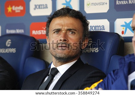 BARCELONA - JAN, 2: Luis Enrique Martinez manager of FC Barcelona during a Spanish League match against RCD Espanyol at the Power8 stadium on January 2, 2016 in Barcelona, Spain - stock photo