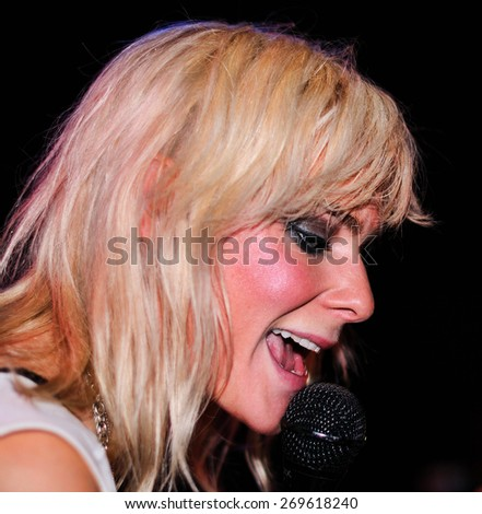 BARCELONA - JAN 17: Maja Ivarsson, singer of The Sounds (band), performs at Apolo on January 17, 2011 in Barcelona, Spain. - stock photo