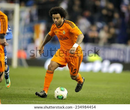 BARCELONA - JAN, 21: Marcelo Vieira of Real Madrid during the Spanish Kings Cup match between Espanyol and Real Madrid at the Estadi Cornella on January 21, 2014 in Barcelona, Spain - stock photo