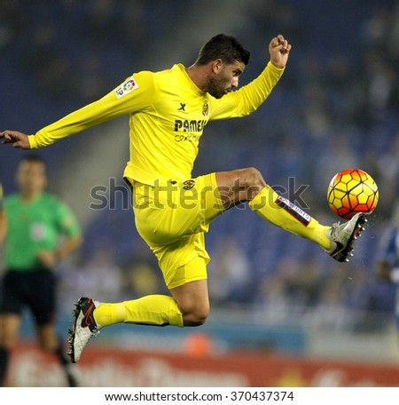 BARCELONA - JAN, 23: Mateo Musacchio of Villareal CF during a Spanish League match against RCD Espanyol at the Estadi Cornella on January 23, 2016 in Barcelona, Spain - stock photo