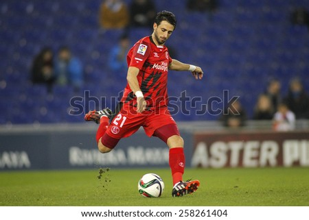 BARCELONA - JAN, 22: Nico Pareja of Sevilla FC during spanish League match against RCD Espanyol at the Estadi Cornella on January 22, 2015 in Barcelona, Spain - stock photo