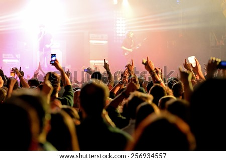 BARCELONA - JAN 29: People in a concert at Razzmatazz venue on January 29, 2015 in Barcelona, Spain.