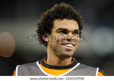 BARCELONA - JAN, 21: Pepe Lima of Real Madrid during the Spanish Kings Cup match between Espanyol and Real Madrid at the Estadi Cornella on January 21, 2014 in Barcelona, Spain - stock photo