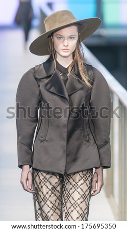 BARCELONA - JANUARY 31: A model walks on the Isabel Toledo catwalk during the 080 Barcelona Fashion runway Fall/Winter 2014 on January 31, 2014 in Barcelona, Spain.