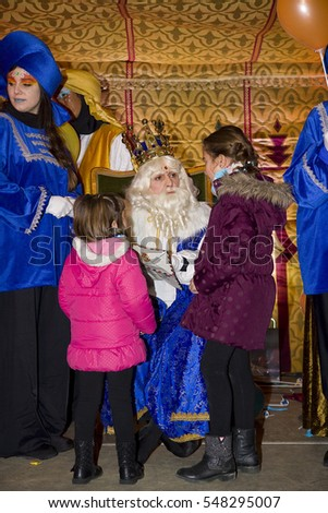 BARCELONA - JANUARY 5: Biblical Magi, who receive letters from children and so bring them gifts on the night before. Is a traditional spanish celebration. January 5, 2012 in Alella, Barcelona, Spain.