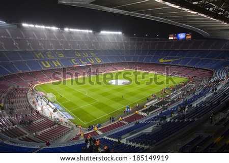 BARCELONA - JANUARY 29: Camp Nou stadium before the Copa del Rey - Spanish Cup - match between FC Barcelona and Levante, 5-1, under an intense rain, on January 29, 2014, in Barcelona, Spain.