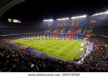 BARCELONA - JANUARY 25: Camp Nou stadium before the Spanish Cup match between FC Barcelona and Real Madrid, 2 - 2, on January 25, 2012, in Barcelona, Spain. - stock photo