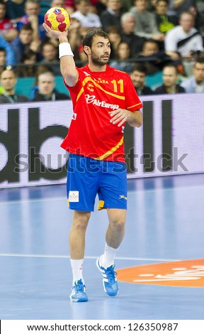 BARCELONA - JANUARY 25: Dani Sarmiento of Spain in action at the Handball World Championship semi-final between Spain and Slovenia, final score 26-22, on January 25, 2013, in Barcelona, Spain.