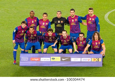 BARCELONA - JANUARY 25: FC Barcelona players lineup before the Spanish Cup match between FC Barcelona and Real Madrid, final score 2 - 2, on January 25, 2012, in Camp Nou, Barcelona, Spain. - stock photo