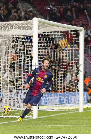 BARCELONA - JANUARY 27: Lionel Messi celebrating his goal at the Spanish League match between FC Barcelona and Osasuna, final score 5 - 1, on January 27, 2013, in Barcelona, Spain. - stock photo