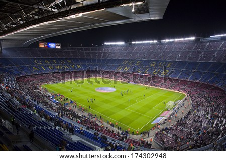 BARCELONA - JANUARY 26: Panoramic view of Camp Nou stadium before the Spanish league match between FC Barcelona and Malaga CF, final score 3-0, on January 26, 2014, in Barcelona, Spain. - stock photo
