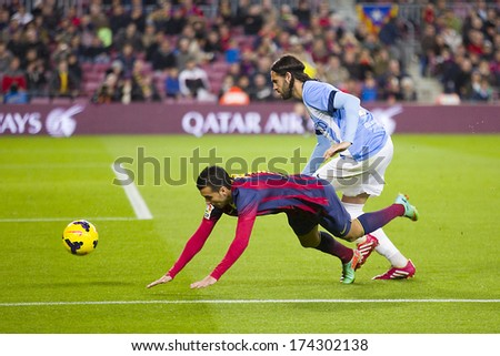 BARCELONA - JANUARY 26: Pedro Rodriguez (L) of FCB in action at Spanish league match between FC Barcelona and Malaga CF, final score 3-0, on January 26, 2014, in Barcelona, Spain. - stock photo