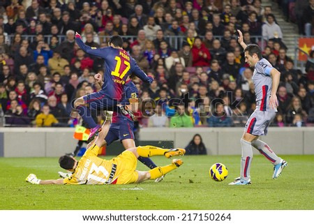 BARCELONA - JANUARY 27: Pedro Rodriguez of FCB (17) in action at the Spanish League match between FC Barcelona and Osasuna, final score 5 - 1, on January 27, 2013, in Barcelona, Spain. - stock photo